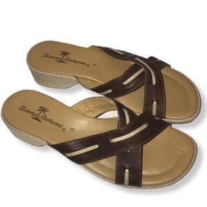 Tommy Bahama  leather sandals brown-cream